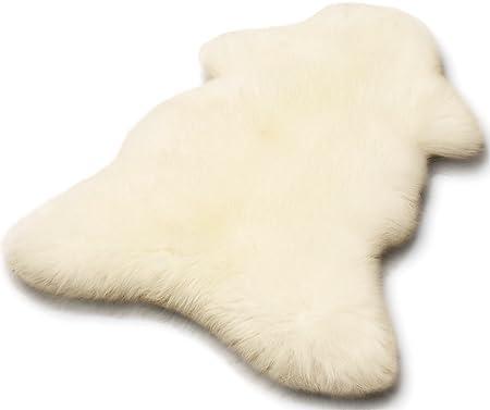 Öko Lammfell Schaffell weiß ca. 90-100 cm echtes Fell