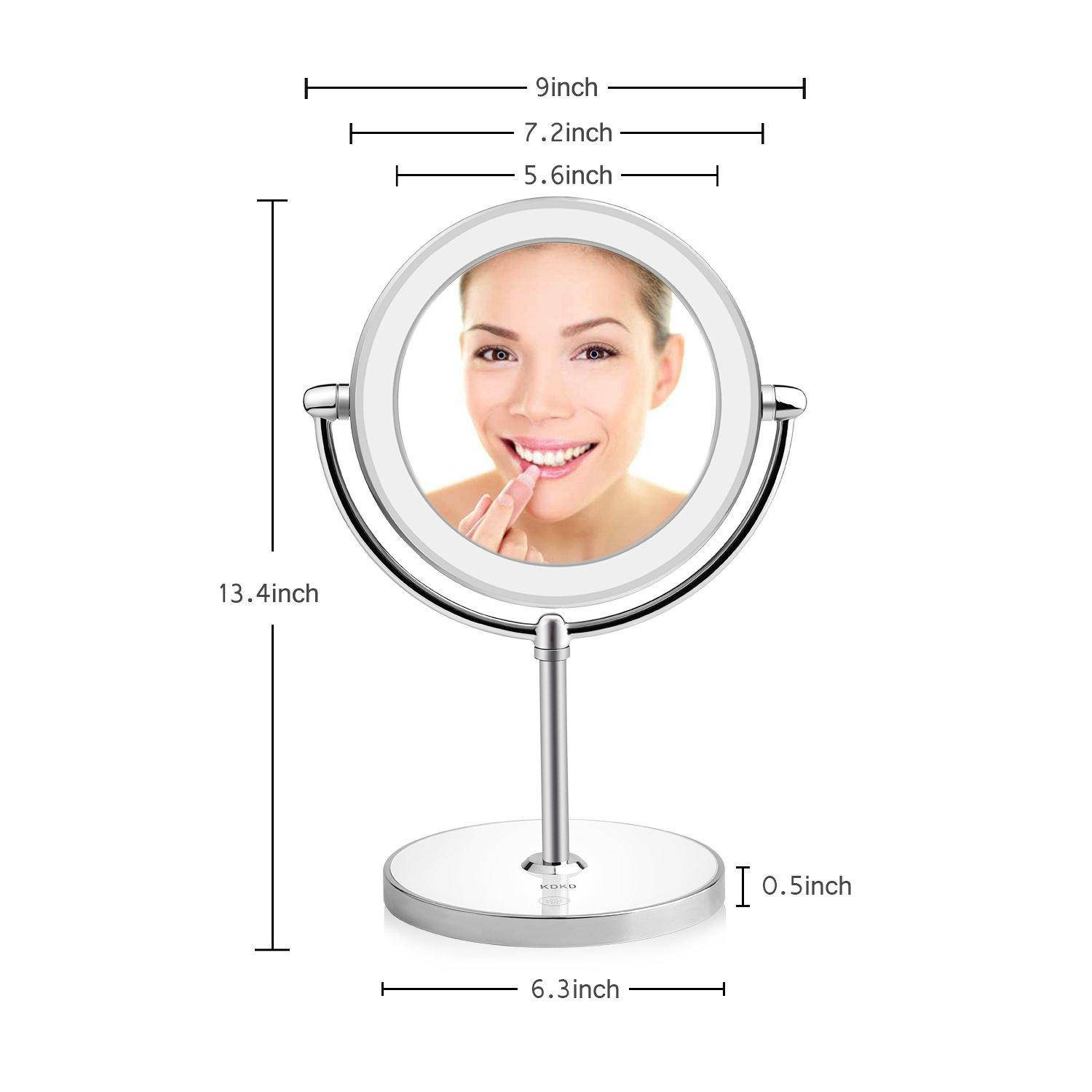 KDKD Lighted Makeup Mirror 1X 7X Magnification Double Sided Round Shape with Base Touch Button, Cordless and Rechargeable by KDKD (Image #3)