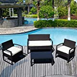 ORKAN 4PC Rattan Wicker Patio Furniture Set Sofa & Table Cushioned Lawn Garden Outdoor BLACK