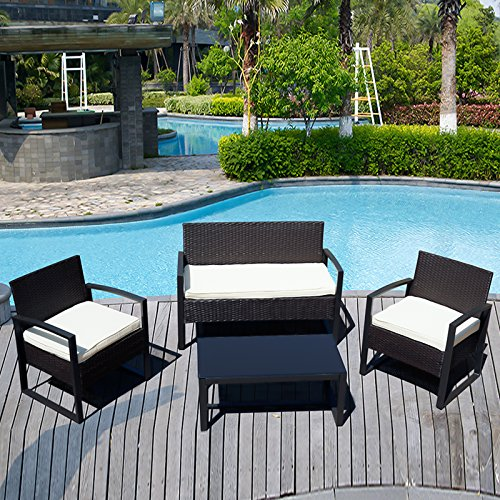 ORKAN 4PC Rattan Wicker Patio Furniture Set Sofa & Table Cushioned Lawn Garden Outdoor(BLACK)