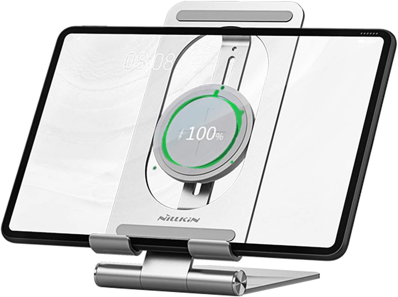 Nillkin Wireless ipad Charger Tablet Stand - 2 in 1 ipad Holder Charging Dock, Wireless Charging Stand for iPad Pro 12.9/iPad Pro 11, ipad 8/7/6/5 Gen, Air 4/3, Mini 4 3 2, Samsung Tab S7/S6/S5e/S4