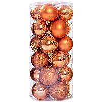 MOSINITTY 24pcs Christmas Balls Decor Ball Hanging Ball Ornament Shatterproof Shiny Matte for Holiday Wedding Party Home…