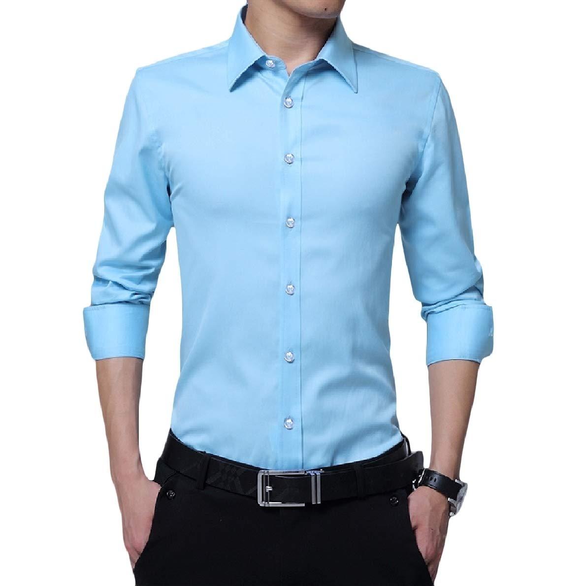 Winme Men's Long-Sleeve Slim Lapel Plus-Size Button Solid Tops Shirt