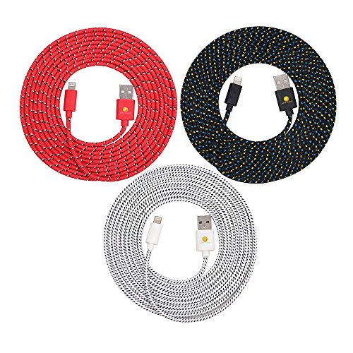 Bundle of 3 Premium Quality 10Ft (3M) 8-Pin Lightning Hi-Speed Charging Data Cables Heavy Duty Nylon Braided Cords for iPhone 7, 7 Plus, 6, 6S, 6S Plus (Red+Blk+Wht)