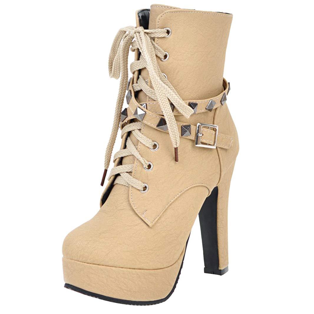 Mavirs Womens Boots Matran Block Heel Ankle-high 12 cm Boots Womens B07GJ8LJ2Z Boots f511b8