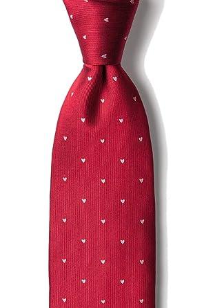 Corbata para hombre de seda 100% con corazones rojos y blancos ...
