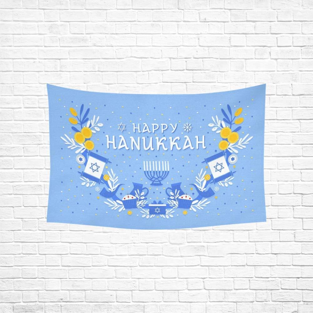 Tapiz Happy Hanukkah Tarjeta de felicitaci/ón Banner Flyer Tapices Tapiz de pared Flor Tapiz psicod/élico Colgante de pared Dormitorio indio Decoraci/ón para sala de estar Dormitorio 60 X 40 pulgadas