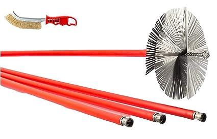 Kit spazzacamino 10 aste scovolo camino 200mm in acciaio pulizia
