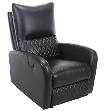 Giantex Recliner Chair Manual PU Leather Ergonomic Theater Reclining (Black)