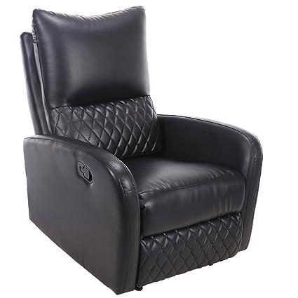 Merveilleux Giantex Recliner Chair Manual PU Leather Ergonomic Theater Reclining (Black)