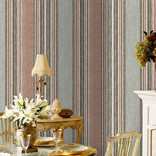 (1104 Faux Grasscloth Weave Texture Non-Woven Wallpaper, Green/Brown-red/White Bedroom Living Room Cafe Wall Decoration Wall Paper 20.8in×31ft)