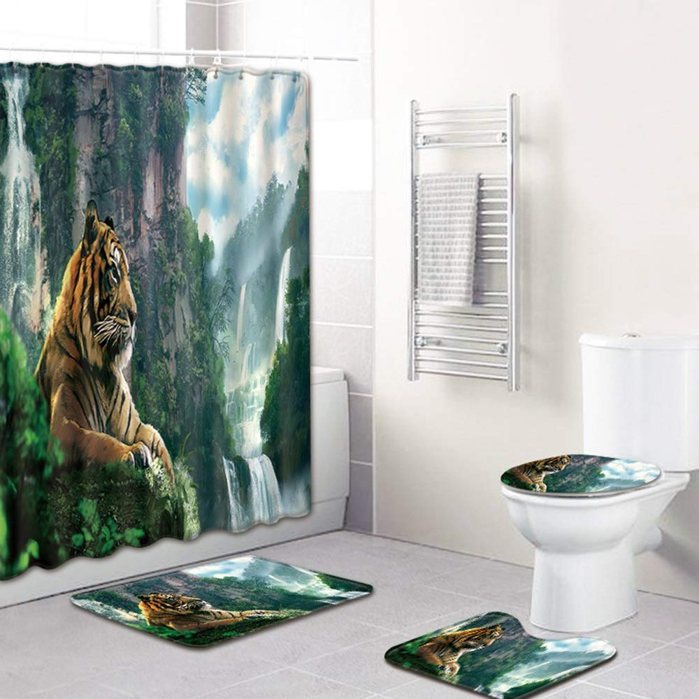 ETH Tiger Pattern Shower Curtain Floor Mat Bathroom Toilet Seat Four-Piece Carpet Water Absorption Does Not Fade Versatile Comfortable Bathroom Mat Can Be Machine Washed Durable by ETH