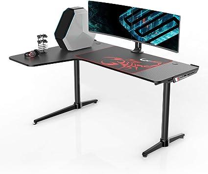 Eureka Escritorio ergonómico para juegos L60 – Escritorio para juegos de ordenador, en forma de L, escritorio para juegos, 60 x 43 pulgadas, color negro: Amazon.es: Oficina y papelería