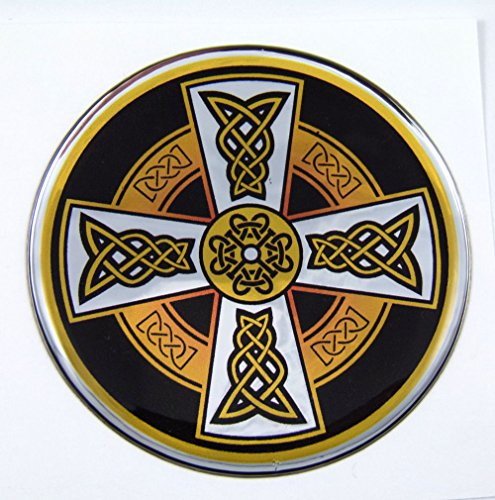 Chrome Celtic Cross - Celtic Cross D1 Emblem domed decal on chrome milar Bike Motorcycle Car 62mm
