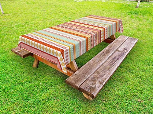 - Ambesonne Tribal Outdoor Tablecloth, Striped Vintage Native American Pattern with Geometric Floral Shapes Print, Decorative Washable Picnic Table Cloth, 58 X 84 Inches, Marigold Red and Tan
