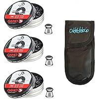 Outletdelocio 3 latas de 500 perdigones Gamo Match Diabolo de Copa 4,5mm + Funda portabalines. 3-35810/23054