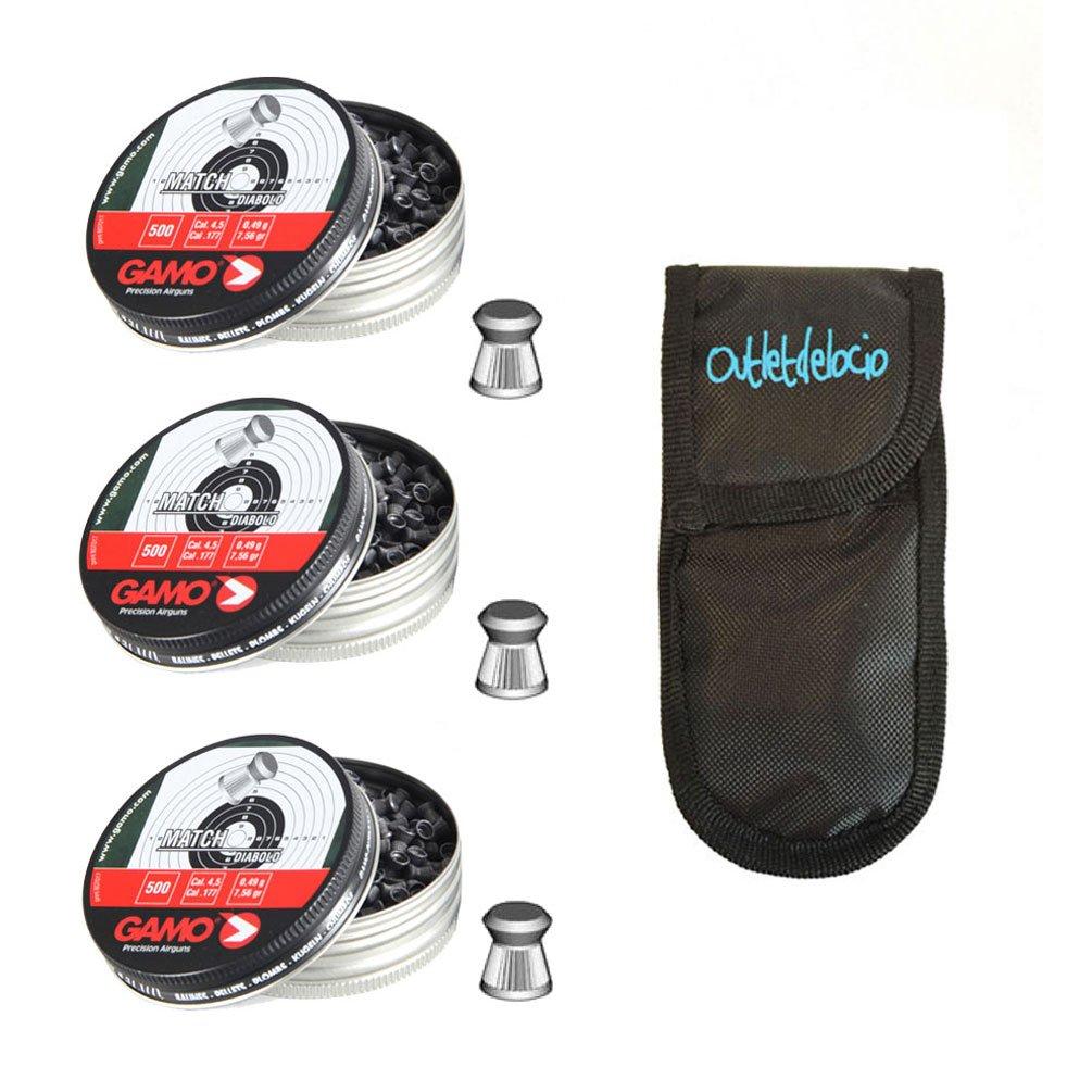 Outletdelocio 3 latas de 500 perdigones Gamo Match Diabolo de Copa 4, 5mm + funda portabalines. 3-35810/23054