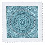 3dRose Andrea Haase Art Illustration - Turquoise Blue Mandala Illustration - 18x18 inch quilt square (qs_268237_7)