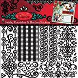 "Hot Off The Press Dazzles Stickers 6""X9"" 3 Sheets-Black Swirls, Flourishes & Borders"