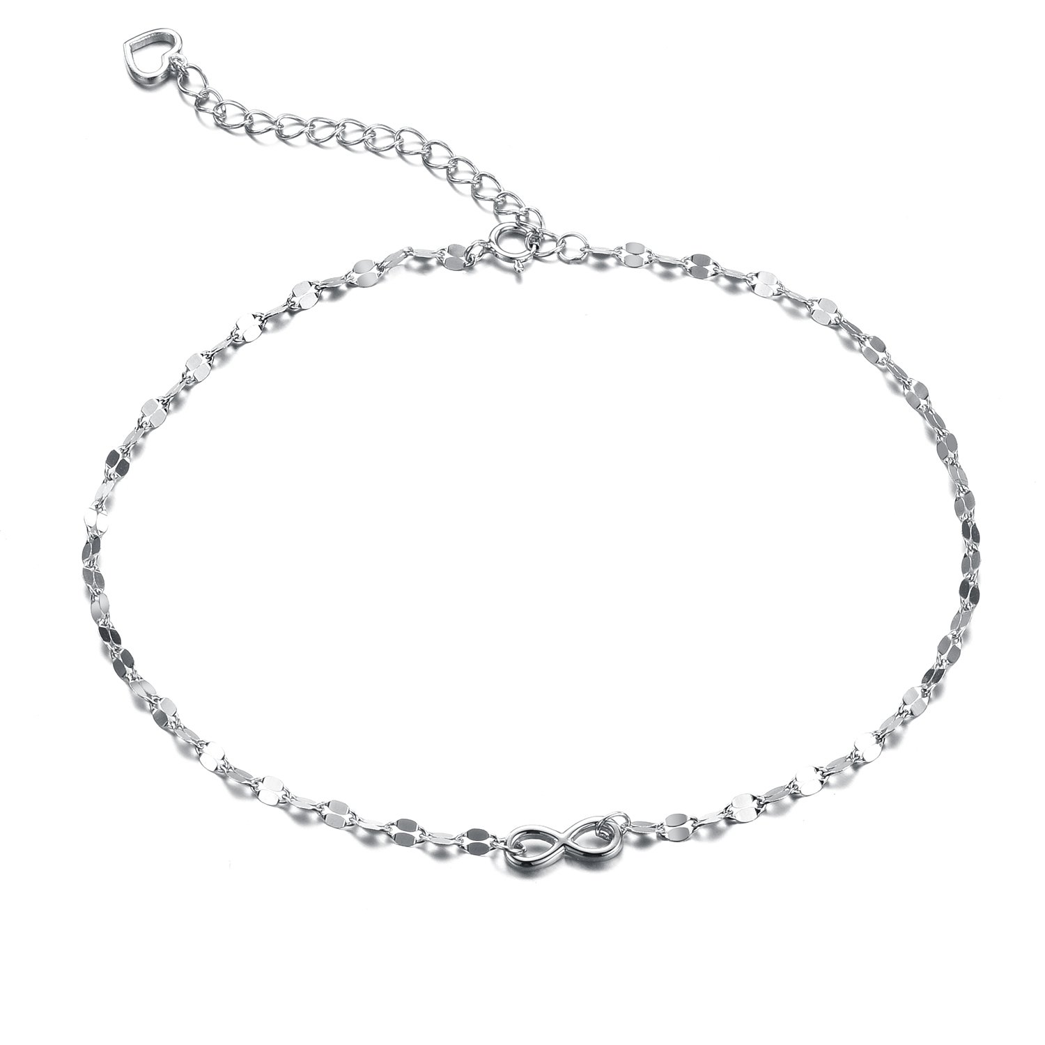Sreema London Women's Bow Anklet with Heart Charm 925 Sterling Silver 28 cm F1515SF SFJS202