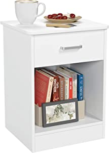 HOMFA Nightstand 2-Tier, Tall 1-Drawer End Table Side Table File Cabinet Storage Table for Home Office Bedside Cabinets with Sliding Drawer and Shelf, White