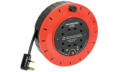 ShaniTech 10m Meter 4 Way Gang Mains Extension Lead Reel BS Approved HEAVY DUTY Thermal Cut Out 13A, ideal for Garden, Workshop, DIY