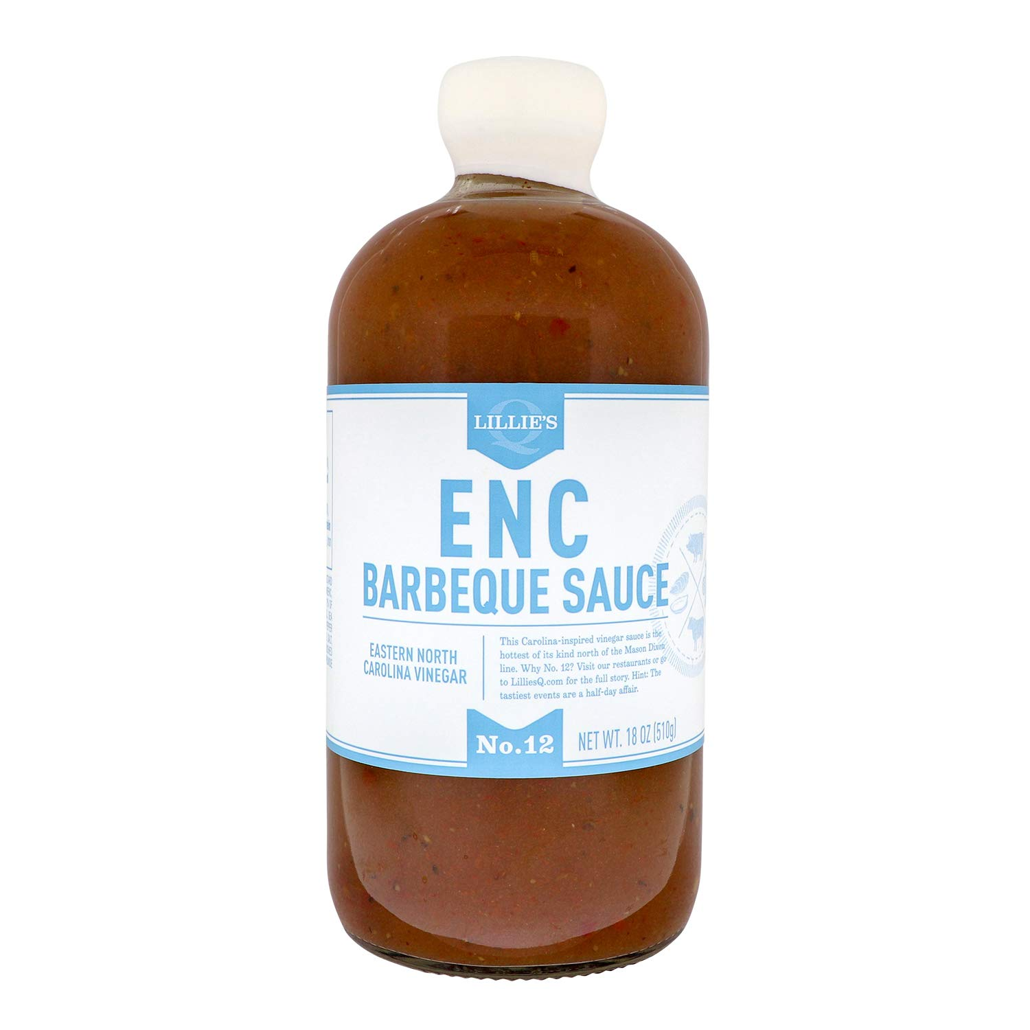 Lillie's Q - ENC Barbeque Sauce, Gourmet BBQ Sauce, Spicy Vinegar BBQ Sauce, All-Natural Ingredients, Made with Gluten-Free Ingredients (18 oz)