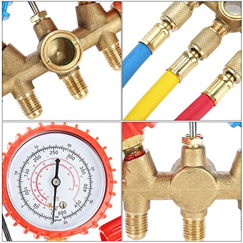 Acouto Refrigerant Air Conditioning Tools AC Diagnostic Manifold Gauge Set W/Hose and Hook Kit by Acouto (Image #4)