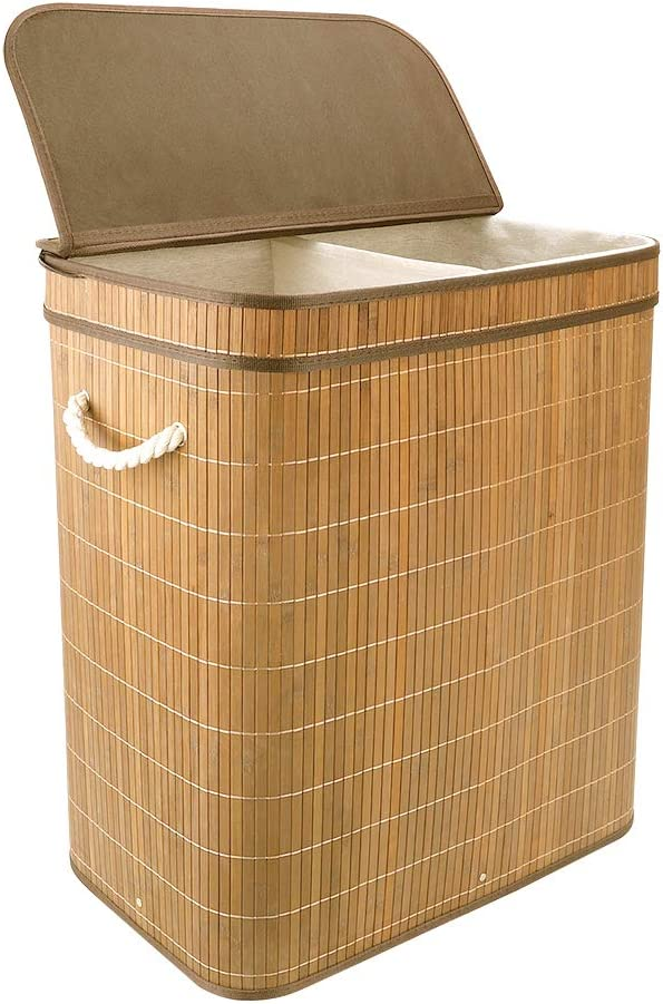 Vesgantti 100L Bamboo Laundry Basket with Flip Lid - Large Folding Clothes Hamper Washing Bin Foldable Collapsible Laundry Sorter Box with 2 Compartments Sections - Lights and Darks(60x51x32cm)