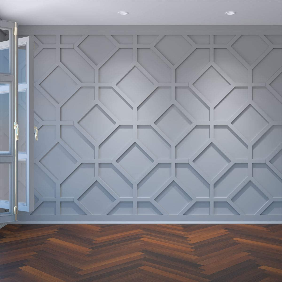 White 39-5//8W x 23-3//4H Ekena Millwork WALP24X24CAM-CASE-10 Wall Panel