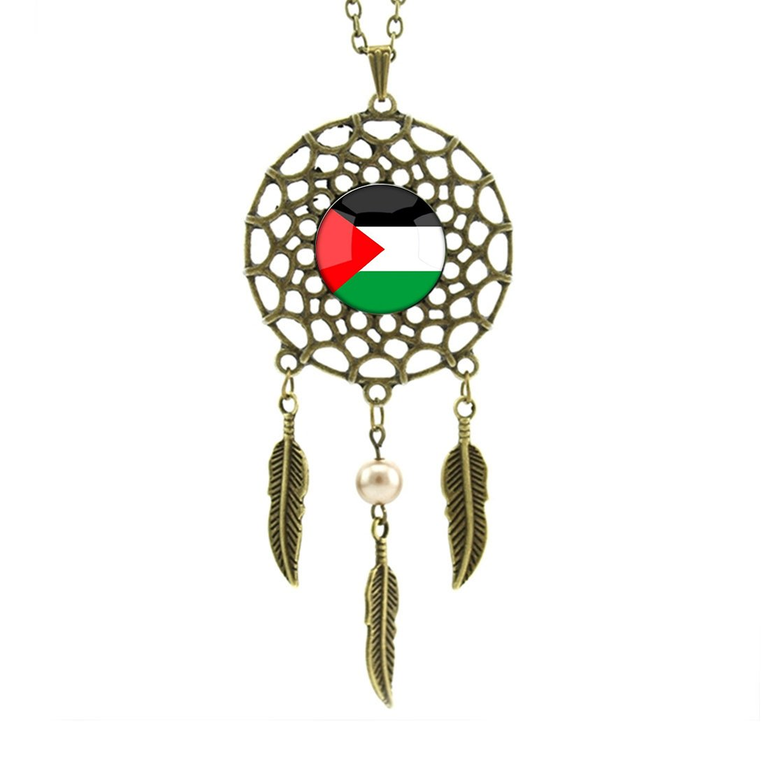Valentine's Day Big Dream Catcher Pendant The Hashemite Kingdom of Jordan National Flag Dangling Feather Charms Dreamcatcher Chain Necklace