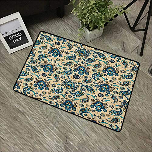 (Learning pad W35 x L59 INCH Paisley,Colorful Vintage Floral Design Pattern with Oriental Paisley Retro Design, Yellow Blue Cream Easy to Clean, no Deformation, no Fading Non-Slip Door Mat Carpet)