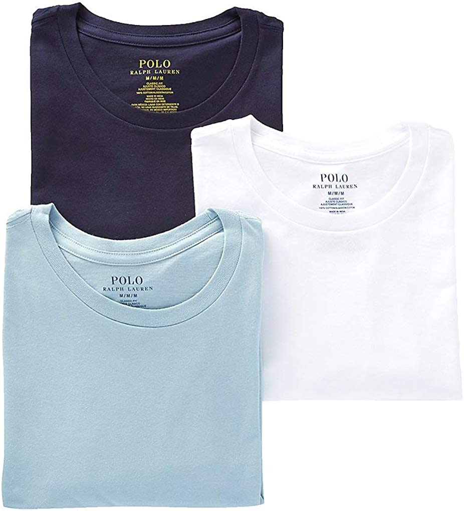 Polo Ralph Lauren Men's Classic Crew Neck Undershirts 3-Pack at  Men's Clothing store