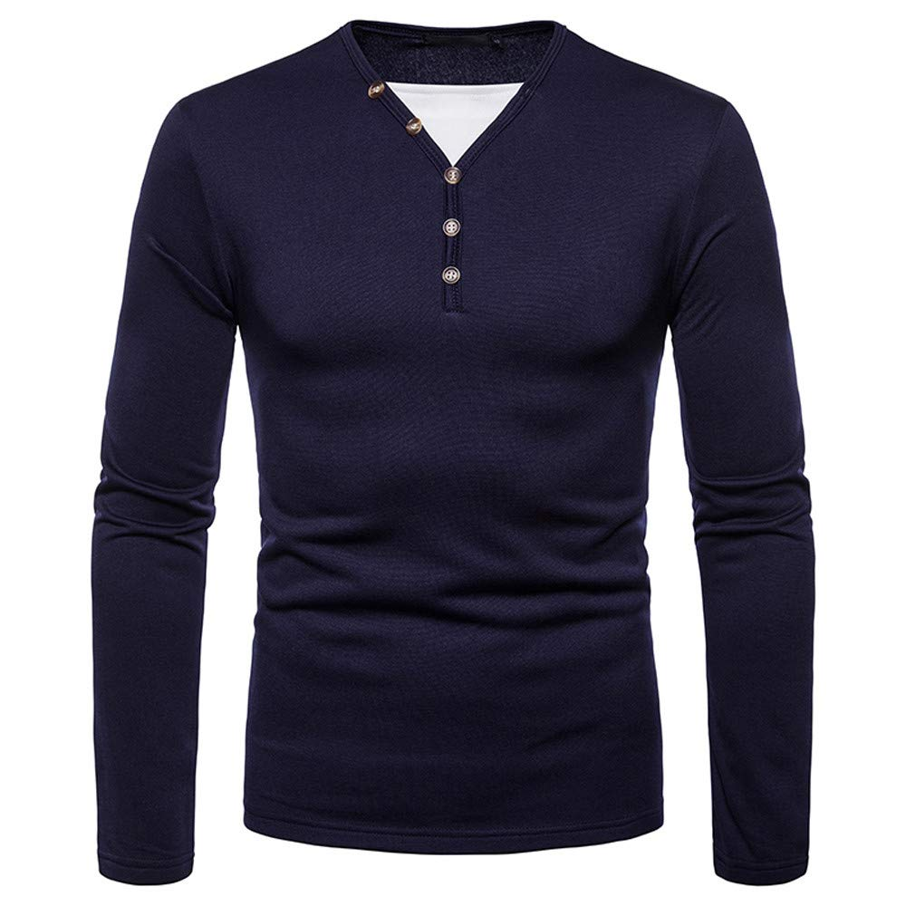 iLXHD 2018 Men's Multi-Type V-Neck Shirts Long Sleeve Solid Sweartshirts Tops XMM-95