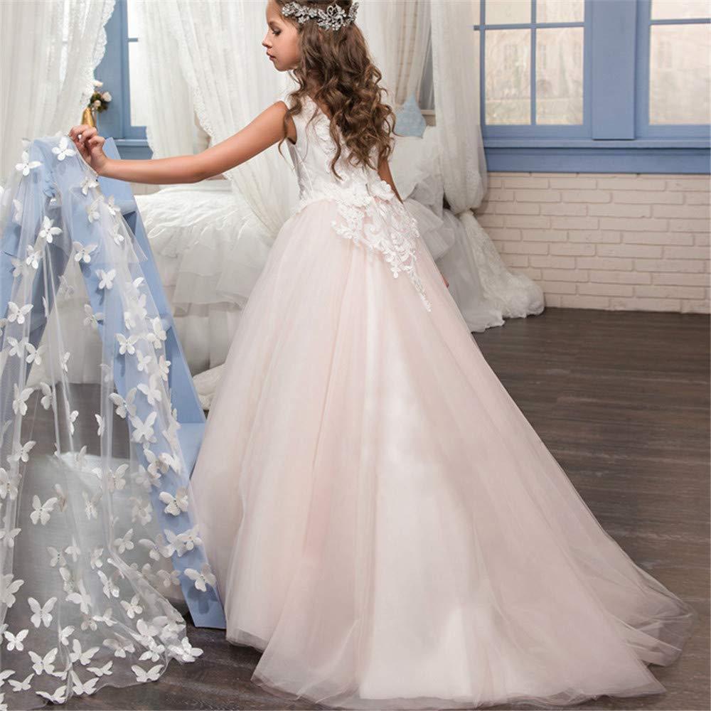 Vestidos formales de fiesta Vestido de boda para niños de encaje hecho a mano Flor Desmontable Mantón Rendimiento Cumpleaños Princesa Tutu Performance ...