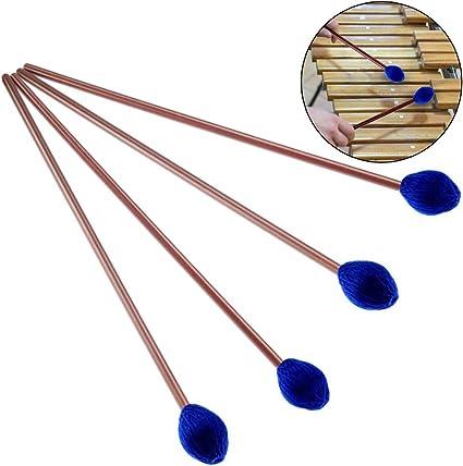 Buytra 2 Pairs Medium Hard Yarn Head Keyboard Marimba Mallets with Maple Handle Blue