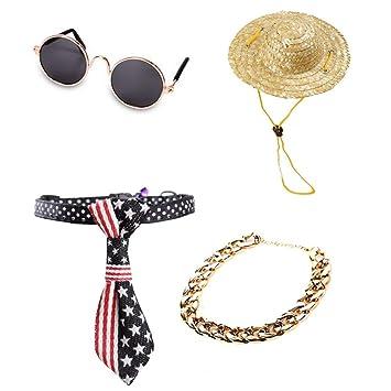 AREDOVL Gafas de Sol para Mascotas, Sombreros para Mascotas, Corbata de Gato, Collar