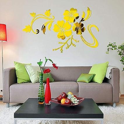 BaZhaHei-Wallpaper, Etiqueta de la pared, Espejo 3D vinilo removible etiqueta de la pared calcomanía decoración para el hogar arte DIY de Espejo ...