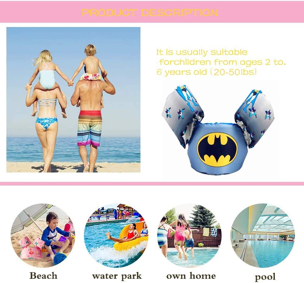 FCCF Baby Floats for Pool,Kids Life Jacket Life Vest for Children Swim Vest with Arm Wings for Boys and Girls