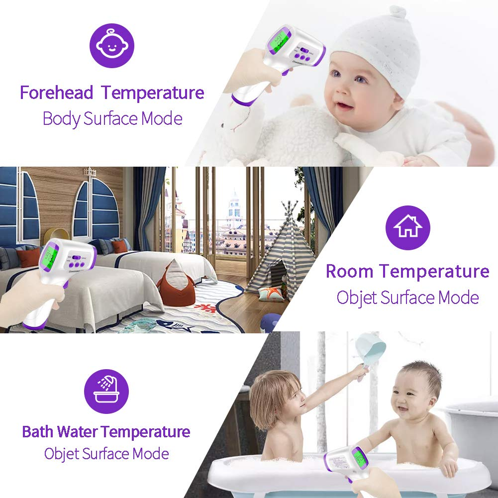 Forehead Thermometer for Adults, Digital Non Contact Infrared Thermometer for Kids, Baby with Instant Accurate Reading , Fever Alarm: Industrial & Scientific