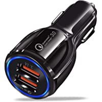 Jollyfit Car Charger - Qualcomm Quick Charge 3.0 - Dual USB 12V/24V 3.1A Fast Car Charging Adapter For iPhone XS XR MAX X 8 7 6S 6 Plus, iPad Pro Air 2 Mini, Samsung Galaxy S10 S9 S8 S7 S6 Note LG HTC Nexus Pixel (Black)