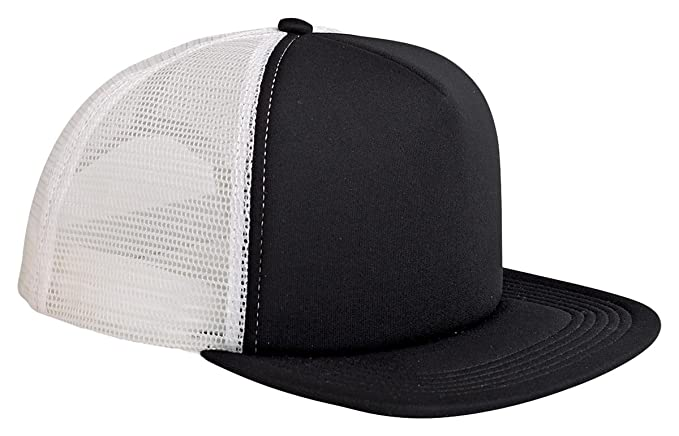 c69a827a3e9 Amazon.com: Big Accessories 5-Panel Foam Front Trucker Cap, BLACK ...