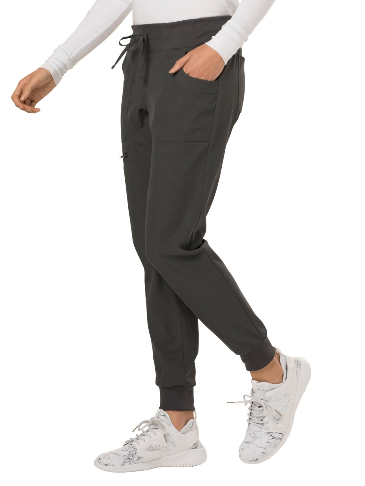 HeartSoul Break On Through Women's The Jogger Low Rise Tapered Leg Scrub Pant Small Pewter