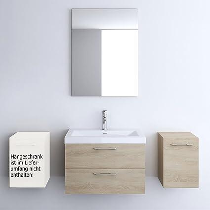 Mueble de baño Set en nogal claro, 4 piezas, cuarto de baño espejo ...