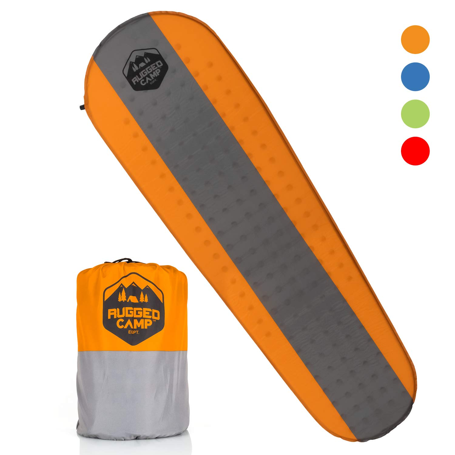 Rugged Camp Self Inflating Sleeping Pad - Sleep Comfortably in The Outdoors - Camping Gear and Accessories for Hiking, Backpacking, Travel - Lightweight and Compact Camping Mat (Orange) by Rugged Camp