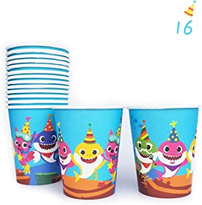 16 Baby Shark Cups, Disposable Paper 9oz Cup Baby Party Set, Baby Cute Shark Doo Doo Decorations