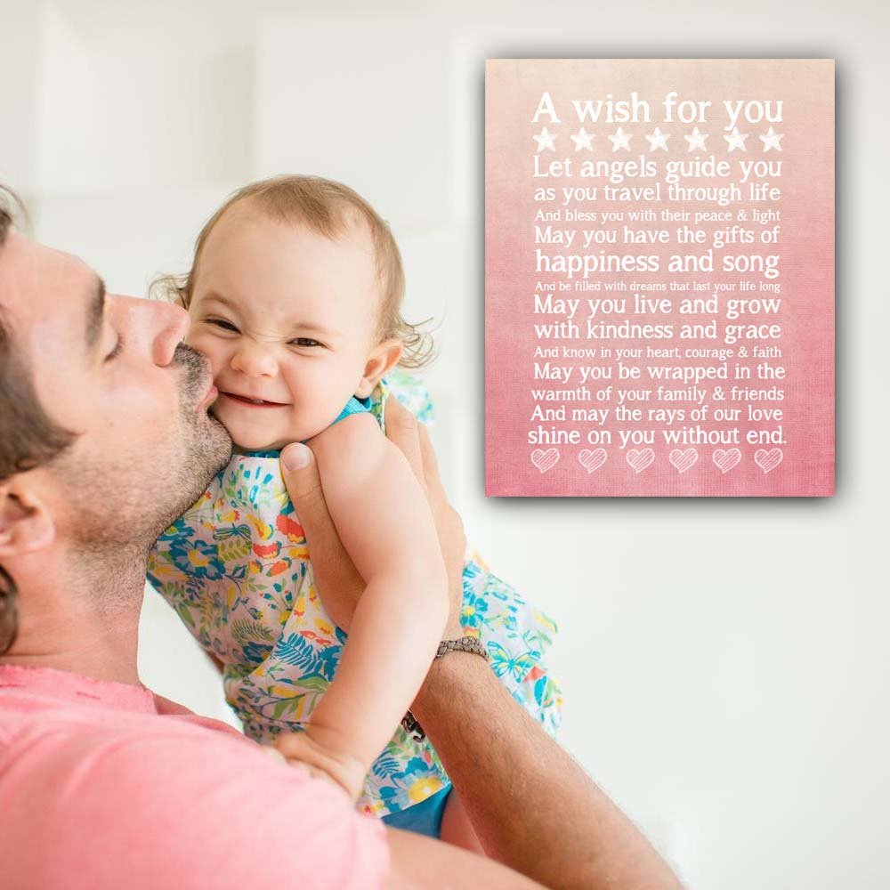 Beautiful Wall Art Chalkboard Typography Print in Soft Pink, Perfect Christening, Baptism or New Baby Gift, 11x14'' by Ocean Drop Photography (Image #2)
