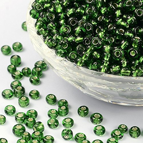 PandaHall Elite About 4500 Pcs 6/0 Glass Seed Beads Silver Lined Green Round Pony Bead Mini Spacer Beads Diameter 4mm for Jewelry Making