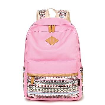 Q.KIM Backpack Mochilas Escolares Mujer Mochila Escolar Lona Bolsa Estilo Étnico Vendimia Casual Colegio Bolso Para Chicas Rosa 1pc: Amazon.es: Equipaje