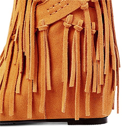 Toe Leather Round Handmade Boots Nine Tassels Ankle Heel Seven Women's Classy Brown Party With Mid Suede Cute ERwqXqA